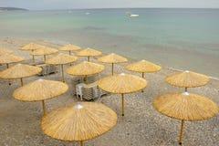 Umbrellas on the sea beach Stock Image