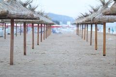 Umbrellas at sea beach Royalty Free Stock Photo