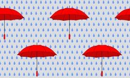 Umbrellas. Seamless background with red umbrellas stock illustration