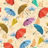 Umbrellas. Seamless pattern. Vector autumn doodles design. Stock Photo