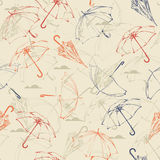 Umbrellas. Seamless pattern in vintage style. Royalty Free Stock Image