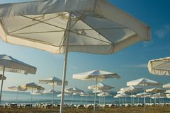 Umbrellas on seaside Royalty Free Stock Images