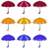 Umbrellas. Set of colored umbrellas icons Royalty Free Stock Photography