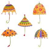 Umbrellas. Set of decorative elements. Artistic work. Watercolours on paper Stock Photo