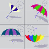 Umbrellas with shadows. Set of 4 umbrellas with shadows in varied circumstances Royalty Free Stock Image