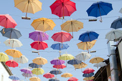 Umbrellas in the Sky, Antalya Stock Images