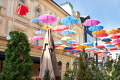 Umbrellas in the sky Royalty Free Stock Image
