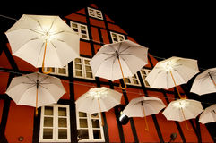 Umbrellas in the sky. From a festival every year in Odense Royalty Free Stock Photography