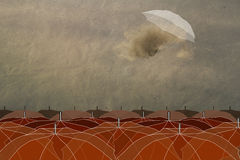 Umbrellas in the sky. Vintage, success, easiness, especial Stock Photos