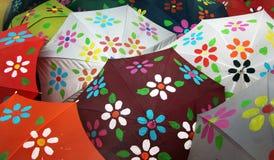 Umbrellas with spring flowers Royalty Free Stock Photos