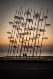 Umbrellas statue at Sunset, Thessaloniki, Greece Royalty Free Stock Photography