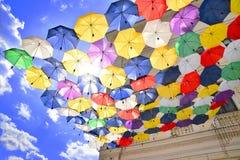 Umbrellas street decoration Royalty Free Stock Image