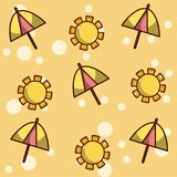 Summer patterns background. Umbrellas and sun vector illustration graphic design Royalty Free Stock Photos