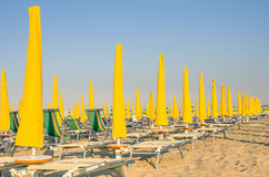 Umbrellas and sunbeds - Rimini Beach - Italy Royalty Free Stock Images