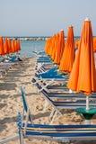 Umbrellas and sunbeds in Rimini and Riccione and Cattolica Beach Stock Image
