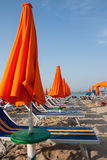 Umbrellas and sunbeds in Rimini and Riccione and Cattolica Beach Stock Photography
