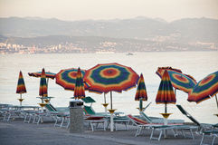 Umbrellas and sunbeds Stock Photo