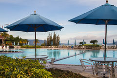 Umbrellas and Swimming Pool Royalty Free Stock Photography