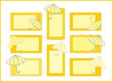 Umbrellas tag collection Royalty Free Stock Photos