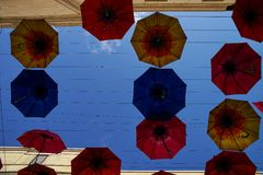 Colourful umbellas in the Bath. Umbrellas in tha Bath. Blue Sky at background Royalty Free Stock Photography