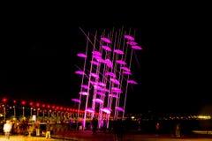 Umbrellas of Thessaloniki, Greece. The sculpture was illuminated Royalty Free Stock Photos