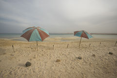 Umbrellas on a tropical beach with stormy sky. Two old umbrellas on an abandoned tropical beach under a stormy overcast sky Royalty Free Stock Photography