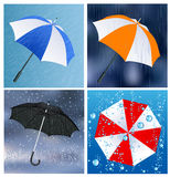 Umbrellas under the rain Stock Image