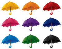 Umbrellas. In various bright colours royalty free illustration