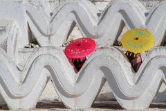 Umbrellas in a white pagoda Royalty Free Stock Image