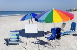 Umbrellas and Whiteboard Royalty Free Stock Images