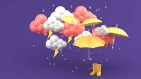 Umbrellas and yellow boots amidst a rainstorm on a purple background. royalty free illustration