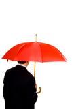 umbrells красного цвета человека Стоковое Изображение