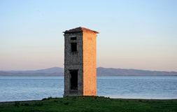 Umbria, Italy, landscape of Trasimeno lake at sunset royalty free stock image