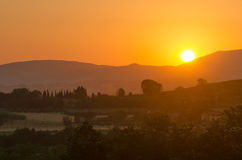 Umbria landscape at sunset from Assisi Stock Photo