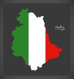 Umbria map with Italian national flag illustration Stock Photography