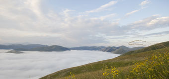 Umbria mountains with fog Stock Images