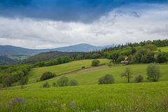 Umbrian countryside. Panorama of Umbria countryside on a cloudy day Royalty Free Stock Photography