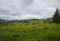 Umbrian countryside. Panorama of Umbria countryside on a cloudy day Stock Photo
