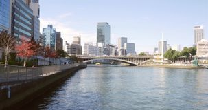 Umeda Osaka water city skyline. Beautiful osaka city On the river stock video