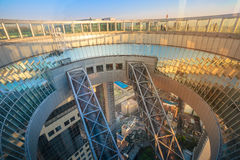 Umeda Sky Building rooftop. Osaka, Japan - April 28, 2017: Floating Garden Observatory in Kita-ku district at sunset. A circular rooftop observation deck Royalty Free Stock Photos