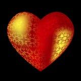 Umfangreiches rotes Herz mit Mustern lizenzfreie abbildung