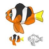 Umfassen Gelbschwanz-Clownfish-Zeichentrickfilm-Figur der hohen Qualität flaches Design und Linie Art Version Stockbild