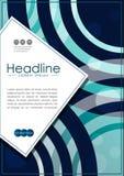 Umfassen Sie Design A4 mit blauen abstrakten Linien und Kreisen Lizenzfreies Stockfoto