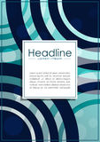 Umfassen Sie Design A4 mit blauen abstrakten Linien und Kreisen Stockbild
