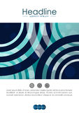 Umfassen Sie Design A4 mit blauen abstrakten Linien und Kreisen Lizenzfreies Stockbild