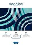 Umfassen Sie Design A4 mit blauen abstrakten Linien und Kreisen Stockfotografie