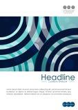Umfassen Sie Design A4 mit blauen abstrakten Linien und Kreisen Lizenzfreie Stockfotografie
