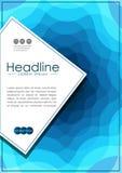 Umfassen Sie Design in A4 mit gewellten blauen abstrakten Linien Lizenzfreie Stockfotografie
