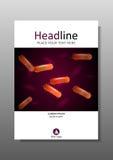 Umfassen Sie Design mit orange Bakterienkultur unter Mikroskop Vektor Stockfotos