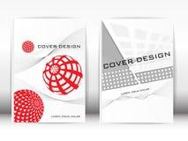 Umfassen Sie Design-Schablonen-Veröffentlichung A rote und graue Grafiken auf einem w Stockbilder